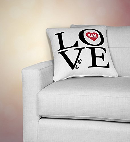 personalized love print pillow cover, personalized pillowcase, family gift, personalized pillowcases, 2nd anniversary, two year anniversary cotton - Returns Tory Burch