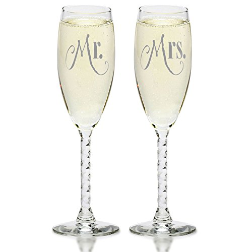 Mr. & Mrs. Silver Champagne Flutes - Wedding Glasses For Bride & Groom - Toasting Gift Sets - For Couples - Engagement, Wedding, Anniversary, House Warming, Hostess (Design Toasting Flutes)