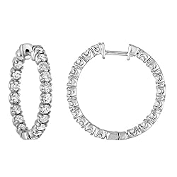 Certified W/Gold Diamond Inside Out Hoop Earrings