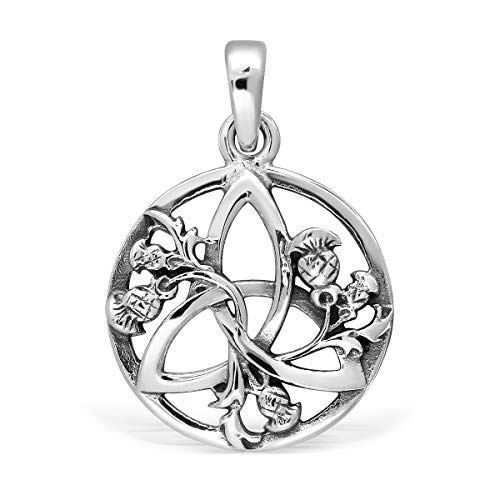 (WithLoveSilver 925 Sterling Silver Celtic Round Triquetra Scottish Thistle Pendant )