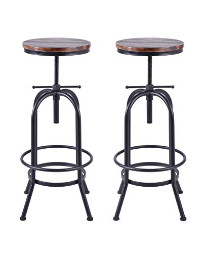 34 inch Vintage Industrial Bar Stool,Metal and Wood Swivel Bar Stool,Retro Bar Height Stool,Counter Height Adjustable Kitchen Stools,Set of 2,Fully Welded,Extra Tall Pub Height 28-34 Inch(Black(2pcs))