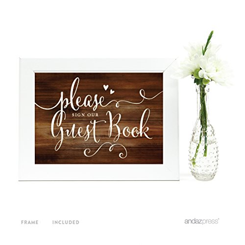 Andaz Press Wedding Framed Party Signs, Rustic Wood Print, 5x7-inch, Please Sign our Guestbook, 1-Pack, Includes Frame