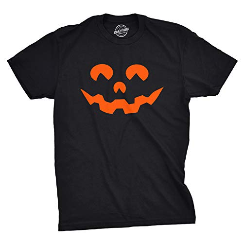 Mens Cartoon Eyes Pumpkin Face Funny Fall Halloween Spooky T Shirt (Black) - 3XL -