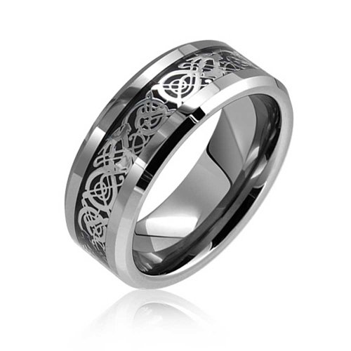 Two Tone Black Silver Celtic Knot Dragon Inlay Couples Wedding Band Tungsten Rings for Men for Women Comfort Fit 8MM