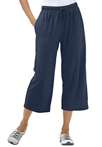 Women's Plus Size Capri Pants In Soft Sport Knit Navy,1X