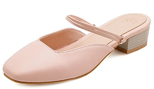 Aisun Women's New Square Toe Slip On Sandals Pink