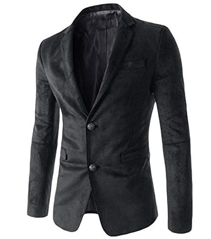 Abetteric Men's Stylish Notch Lapel Patch Faux?Suede Blazer Jacket Suits Black XL - Faux Suede Blazer