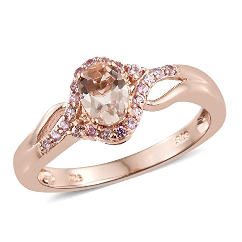 Sterling Silver Vermeil Ring (925 Sterling Silver Vermeil Rose Gold Plated Oval Morganite, Pink Sapphire Heart Ring Size 9)