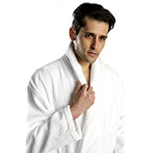 Turkishtowels Original Terry Shawl 100% Cotton Turkish Bathrobe (White, XL)
