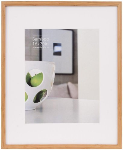 CONTEMPORARY Bamboo Natural-stain matted 16x20/11x14 frame by EcoCare - 11x14 ()