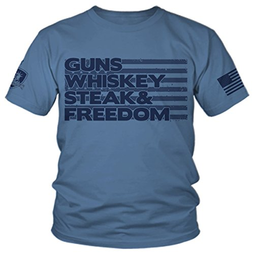 Armed American Supply Guns Whiskey Steak & Freedom - Patriotic T-Shirt from (2X) Lake Blue