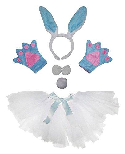 Blue Bunny Costumes (Petitebella Headband Bowtie Tail Gloves Tutu Unisex Children 5pc Girl Costume (Light Blue Bunny))
