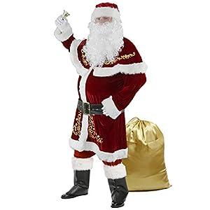 Disfraz de Papá Noel para Hombres Traje de Santa Claus de Terciopelo Lujoso Rojo
