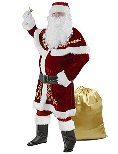 Halfjuly Men's Santa Costume Set Christmas 12pcs Deluxe Velvet Adult Santa Claus Suit XXL Red
