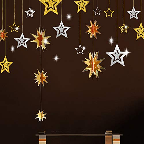 Gold and Silver Star Hanging Decoration 3D Star Cutout Twinkle Little Star Garland Bunting Banner Starry Party Supplies for Birthday/Wedding/Baby Shower/Graduation/Christmas/Kid Room/New Year - Decorations 3d Christmas