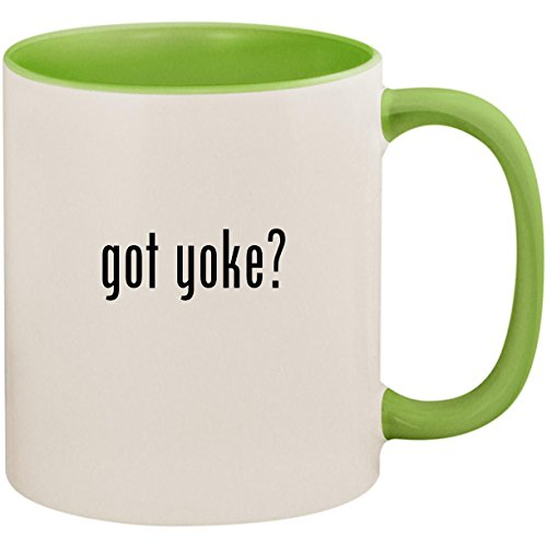 - got yoke? - 11oz Ceramic Colored Inside and Handle Coffee Mug Cup, Light Green