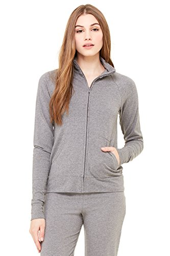 Spandex Cadet Jacket (Zara Yoga Studio  LA  Women's Cotton Spandex Cadet Jacket (Small /Deep Heather))