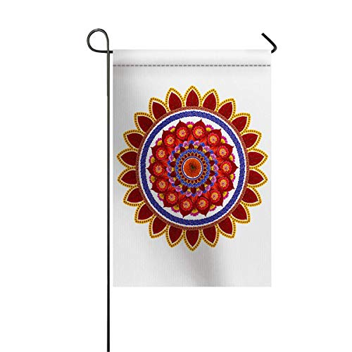(zhurunshangmaoGYS Red Mandala Garden Flag House Banner Decorative Flag Home Outdoor Valentine, Round Figure Leaves Summer Meadow Daisies Sunflowers Yard Flag 12 x 18inch)