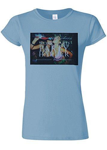 歴史的お手入れ定数Work Hard Party Harder Fun Novelty Light Blue Women T Shirt Top-L