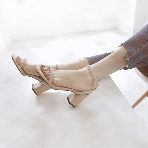 SHOESHAOGE Fuite D'Été Avec Un Talon Toe Sandales Chaussures À Talons D'Étudiant Couleur unie ZYXt6f