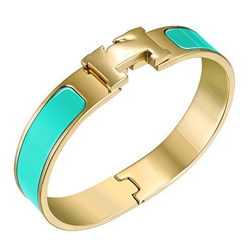 NIMUVIS Womens Fashion Titanium Steel Bracelets Buckle Bangle Love Bracelet Enamel Bracelet Jewelry for Women (Turquoise-Gold)