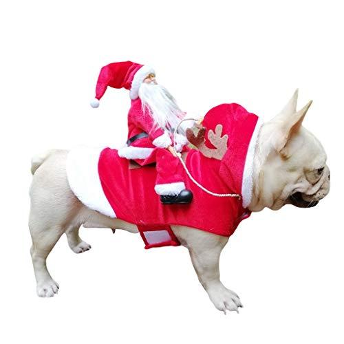 UNBRUVO Pet Santa Christmas Costumes Santa Dog Costume Dog Warm Apparel Party Dressing up Clothing Santa Claus Riding…