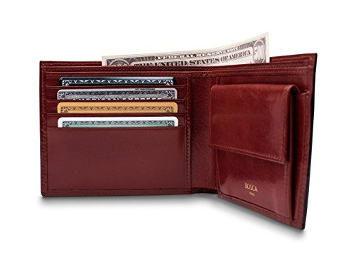 Dark Wallet Coin Bosca Brown Pocket with Executive Old Bifold Men's Leather RFID qfvpOY