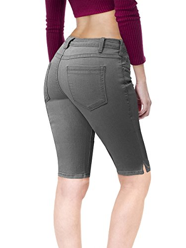 HyBrid & Company Women's Stretchy Denim Bermuda Short B22882X Grey 22 by HyBrid & Company