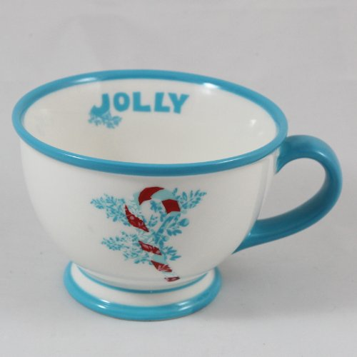 Starbucks Coffee Holiday 2007 White & Blue Jolly Candy Cane Footed Cup 10 oz. 10 Ounce Footed Mug