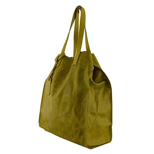 Leder Shopper Tasche Für Damen Farbe Gelb - Italienische Lederwaren - Damentasche