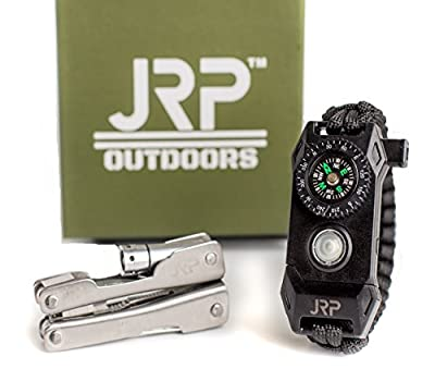 Survival Paracord Bracelet Kit Multitool Keychain Compass Fire Starter Emergency Knife Whistle 9 in 1 Pliers Knife 60% BIGGER Compass than Competition that Works! from JRP International