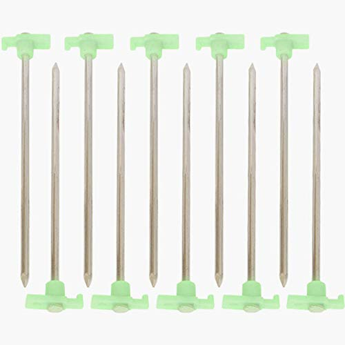 HTS 224G1 10 Pc Heavy Duty Glow In The Dark Tent Pegs -