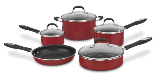 Cuisinart 55-9R Advantage Nonstick 9-Piece Cookware Set, Red