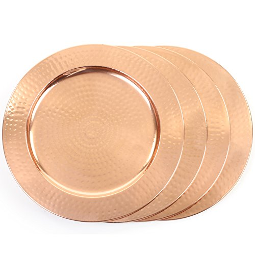 Koyal Wholesale 4-Pack Hammered Copper Charger Plates, Shiny Copper Charger Plates, Wedding (Plate Chargers Wholesale)