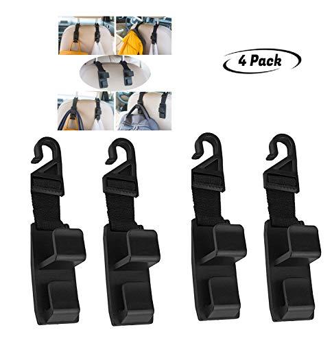 G1-Tech Car Seat Hooks, Back Seat Headrest Hanger Storage Hooks for Car-Handy for Purse,Backpack,Coat,Handbag Shopping Bags Thicker Straps (Heavy Duty for Car, SUV, Truck, 4-Pack)