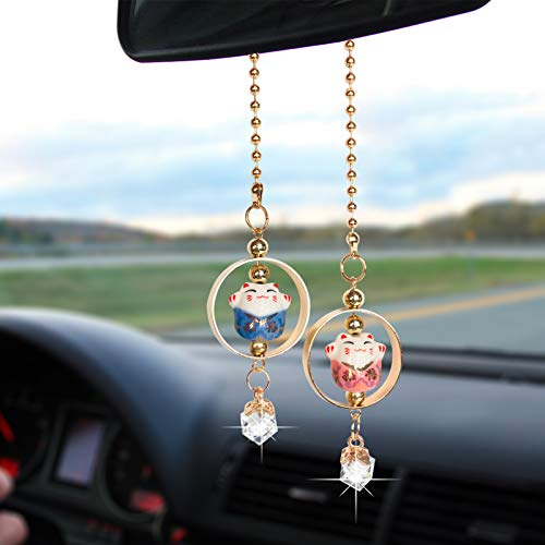 DANUC Bling Car Rear View Mirror Accessories for Women Men Lucky Cat Car Charm Pedent Decorations Rhinestone Hanging Car Ornament Crystal Sun Catcher Ornament Auto Rearview Interior Decoration Charm