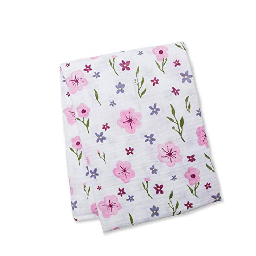 Lulujo Baby Cotton Muslin Swaddle Blanket, Lovely Floral, 47 x 47-Inch (Meyers Floral Print)