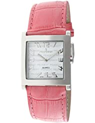 Peugeot Womens 312PK Silver-Tone Pink Leather Strap Watch