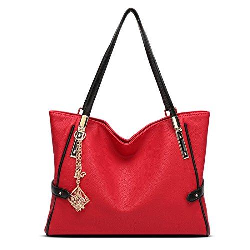 sac main Sac en sac Fashion Sac Rouge à bandoulière Main femme Femme de femme à Cuir Totes qualité à cabas branché Sacs wzPax