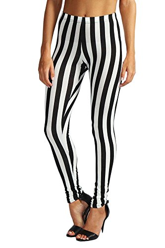 Payeel Women's Leggings Striped Patterns Stretchy Leggings (One Size Fits The Most(0-12), Black and White Stripe) (Spandex Striped Leggings)