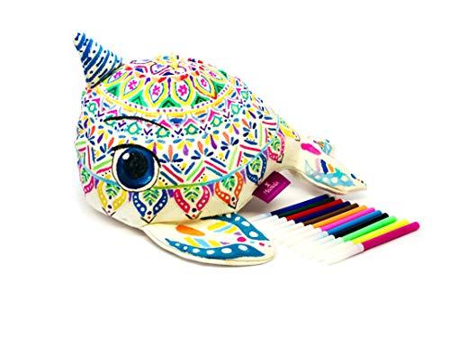 3D MANDALA-BALLENA UNICORNIO de tela suave para colorear. Busca paz, armonía y relajación/Regalo decorativo, divertido y...