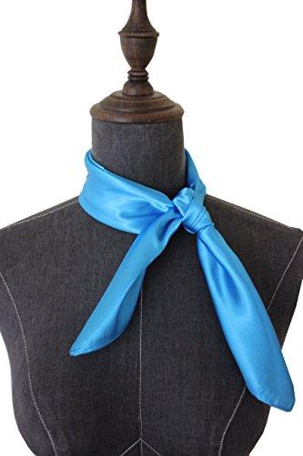 (Silk square scarf pure color head scarf blend neckerchief (blue))
