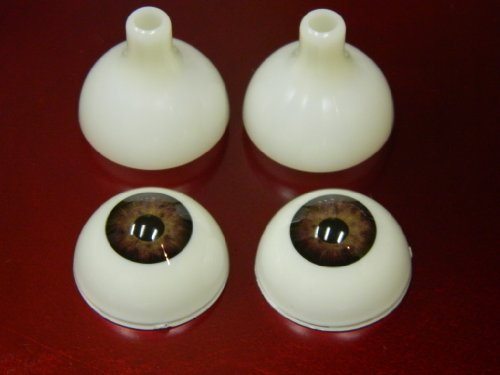 Pair of Realistic Acrylic Eyes for Halloween PROPS, MASKS, DOLLS or Bears (Light Brown 26mm)]()