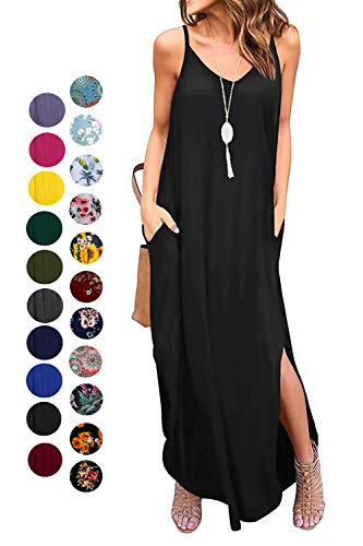 Kyerivs Women's Summer Casual Loose Dress Sleeveless Beach Cover Up Sundresses Long Maxi Dresses with Pocket_Black XXL
