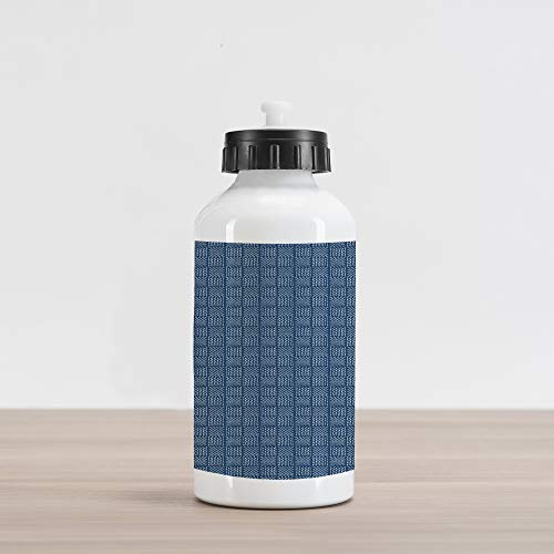 Patio Basketweave - Lunarable Blue and White Aluminum Water Bottle, Abstract Basketweave-Like Pattern Dashed Lines Digital Image Print, Aluminum Insulated Spill-Proof Travel Sports Water Bottle, Night Blue and White