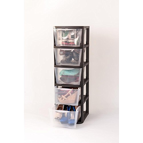 Muscle Rack 5 Drawer Clear Plastic Storage Tower with Black Frame by Muscle Rack