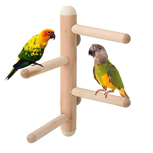 kathson Bird Perches Stand, Parrot Birdcage Stand Toy Natural Wood Activity Climbing Stairs for Parakeet Budgies Canary Lovebirds Finches