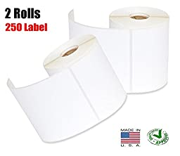 iMBAPrice® 2 Rolls of 250 (USA MADE) 4x6 Direct Thermal for Zebra 2844 ZP-450 ZP-500 ZP-505 Shipping Labels Perfect Roll for 1 INCH CORE THERMAL LASER PRINTERS