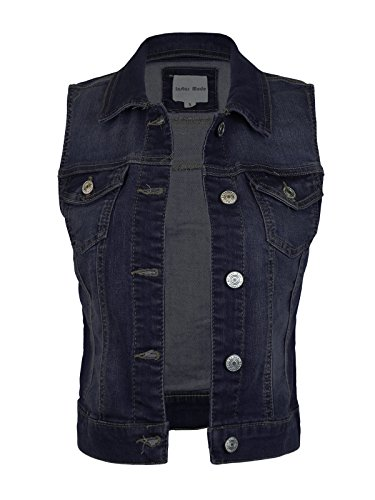 Design by Olivia Women's Sleeveless Button up Jean Denim Jacket Vest Dark Denim S