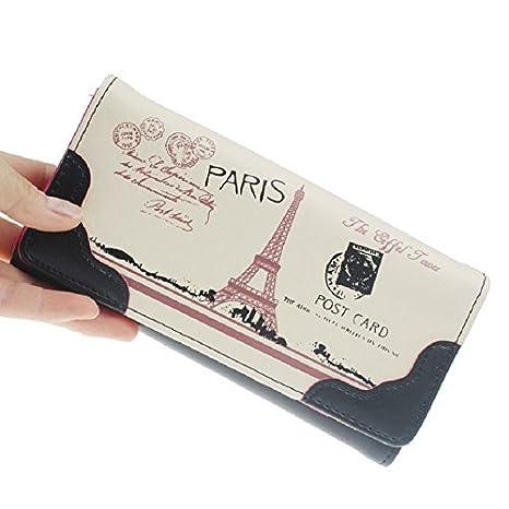 Dersoning diseño de la Torre Eiffel Mujeres Cartera Monedero de Tarjeta de Crédito Monedero Elefante (Negro): Amazon.es: Deportes y aire libre